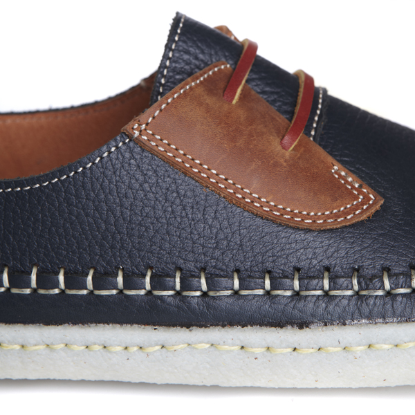 san juan cuero leather navy detail