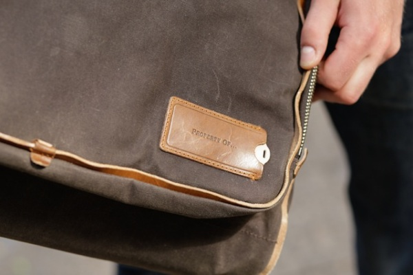 Property Of… Arnald Chocolate waxed canvas detail