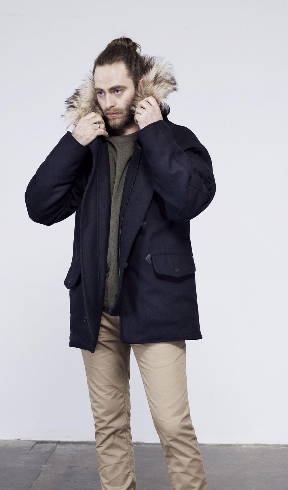 Mens grey wool coat