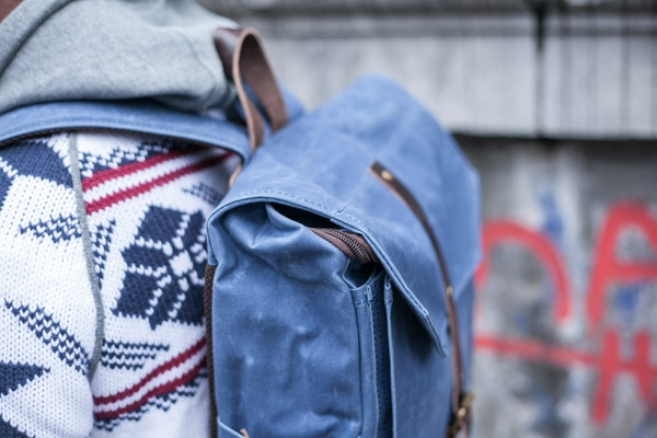 PROPERTY OF… Hector Backpack Blue waxed canvas detail I
